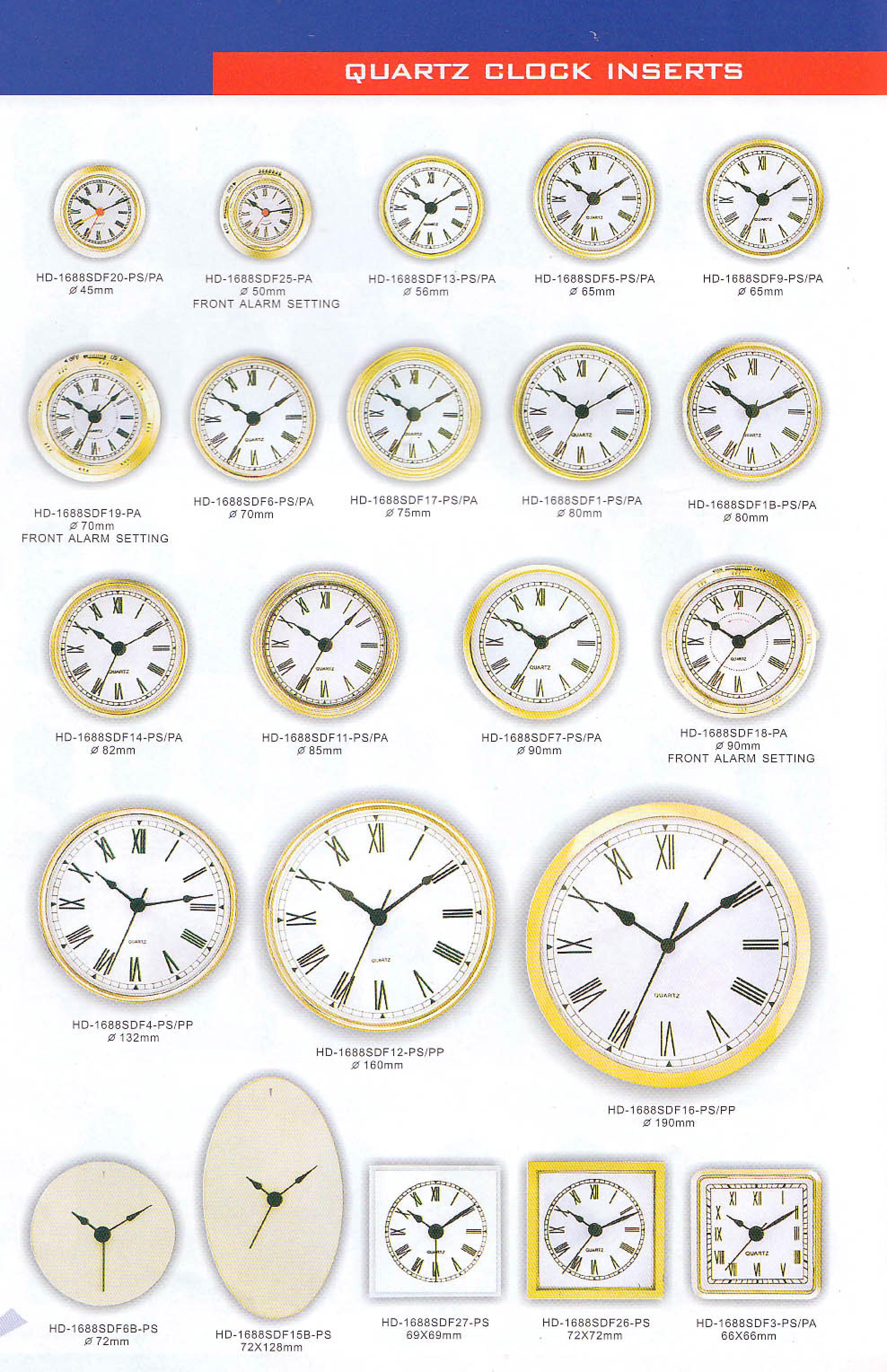 Quartz Clock Inserts